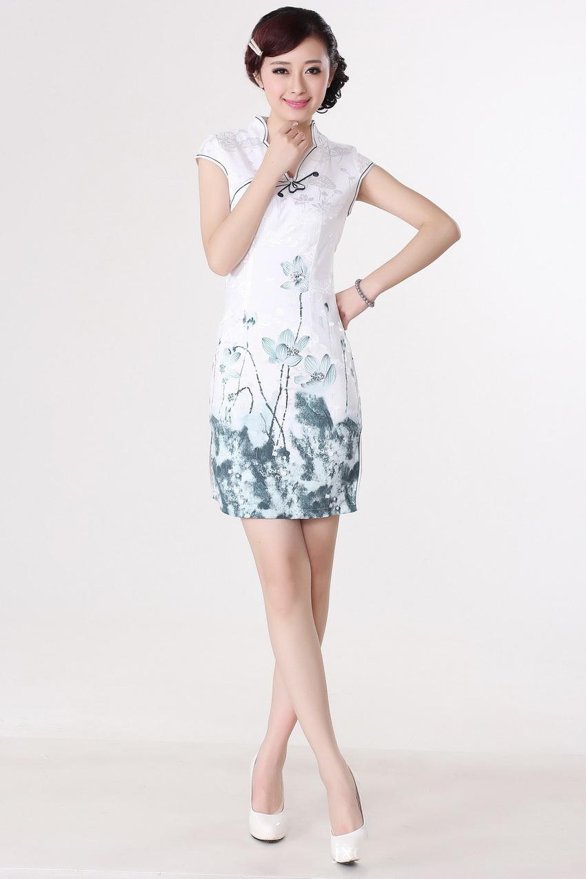 修身短款旗袍