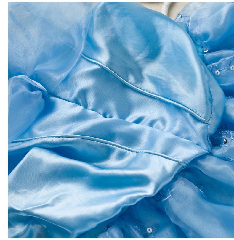 夏装新款灰姑娘蓝色华丽晚礼服