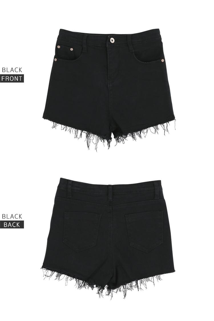 白色黑色毛边牛仔短裤整体款式