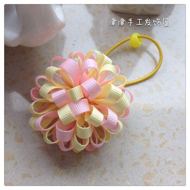 成人女童儿童中童头饰粉红色淡黄色双色花球绣球发夹鸭嘴夹边夹