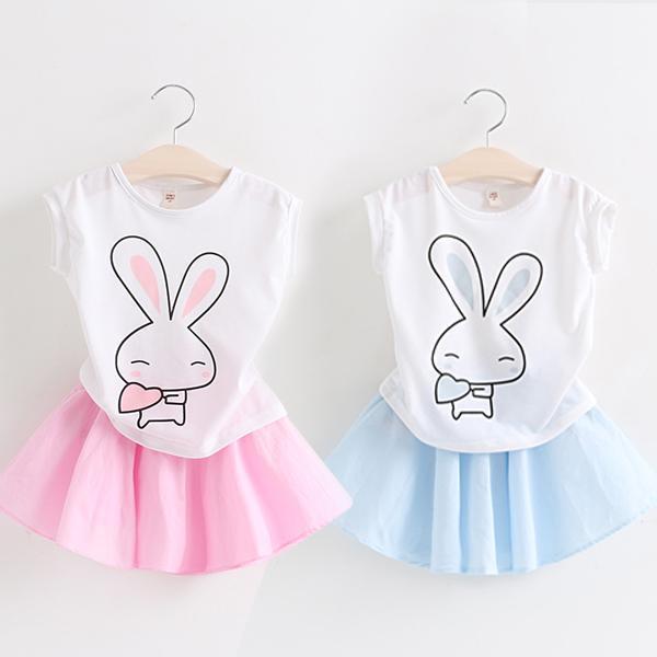 2015夏新款可爱女童装宝宝儿童卡通兔子短袖t上衣 短裙 套装t7232
