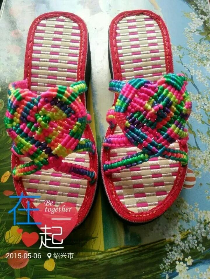 中国结线编织心型凉拖鞋,干爽透