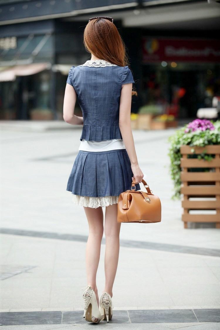 15夏装新款女装潮三件套修身牛仔连衣裙夏天显瘦少女套装短裙子