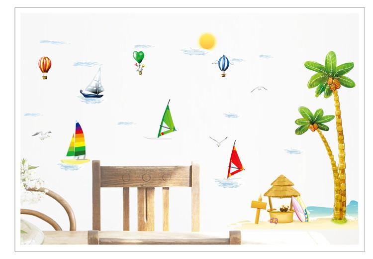 【简一】卡通椰子树帆船墙贴画