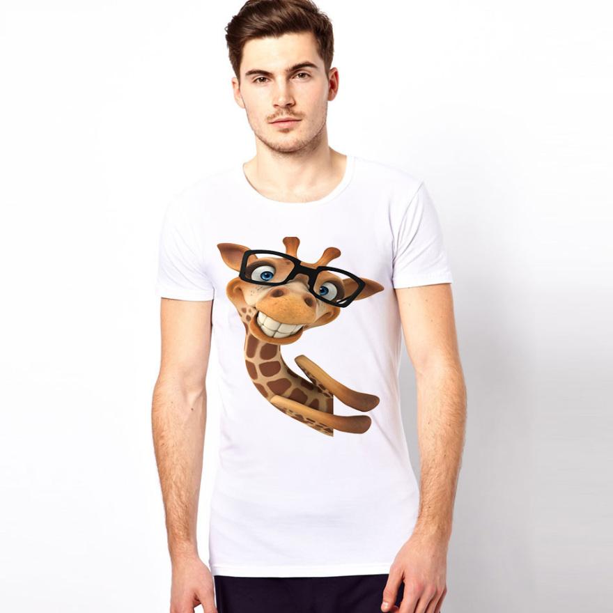 3dt恤男女夏季圆领长颈鹿印花短袖动物图案创意立体个性情侣装