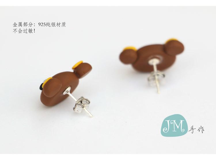 jm手作软陶小熊925纯银耳钉 创意可爱轻松熊高档粘土耳坠
