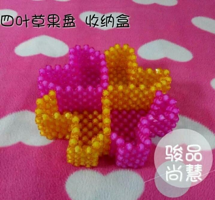 diy时尚串珠 大红大紫四叶草