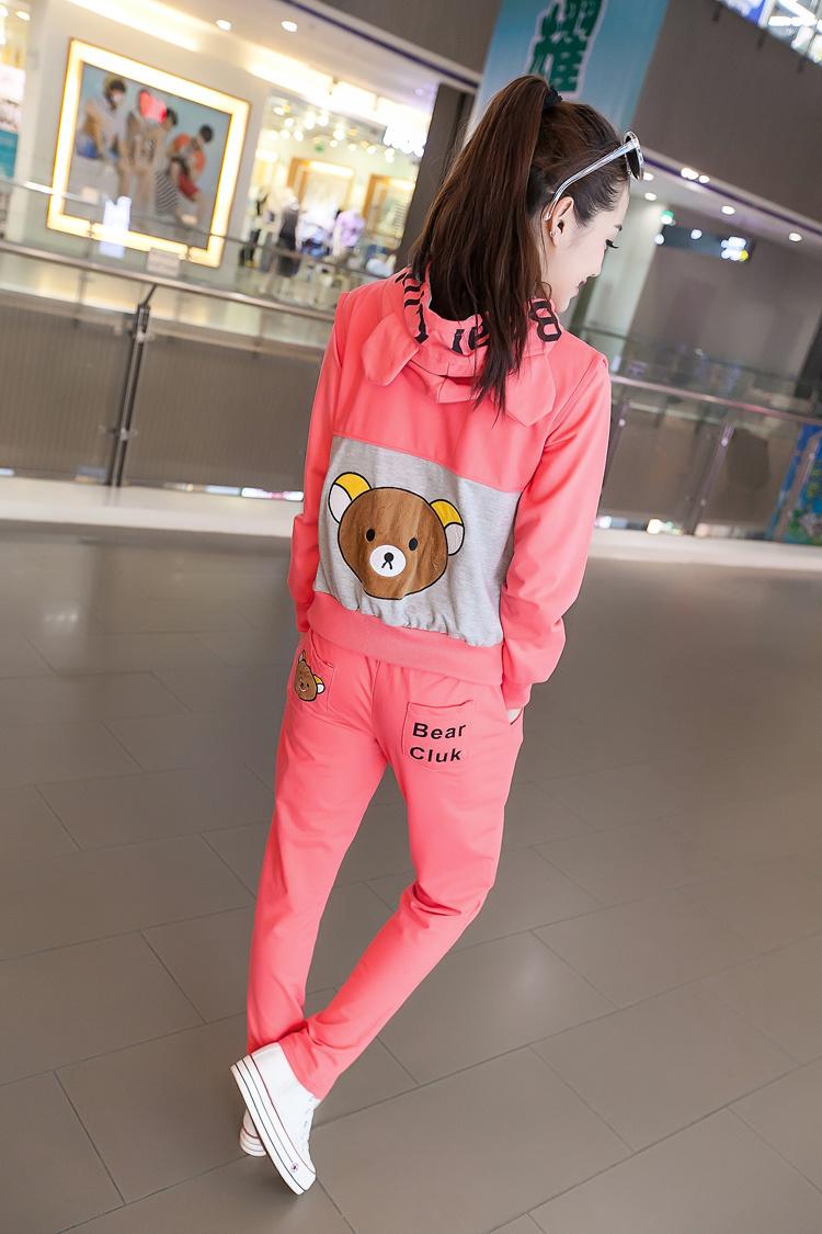 新款可爱小熊卫衣三件套女装学生运动套装少女套装