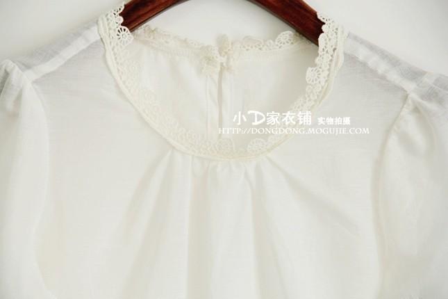 蕾丝袖白衬衫