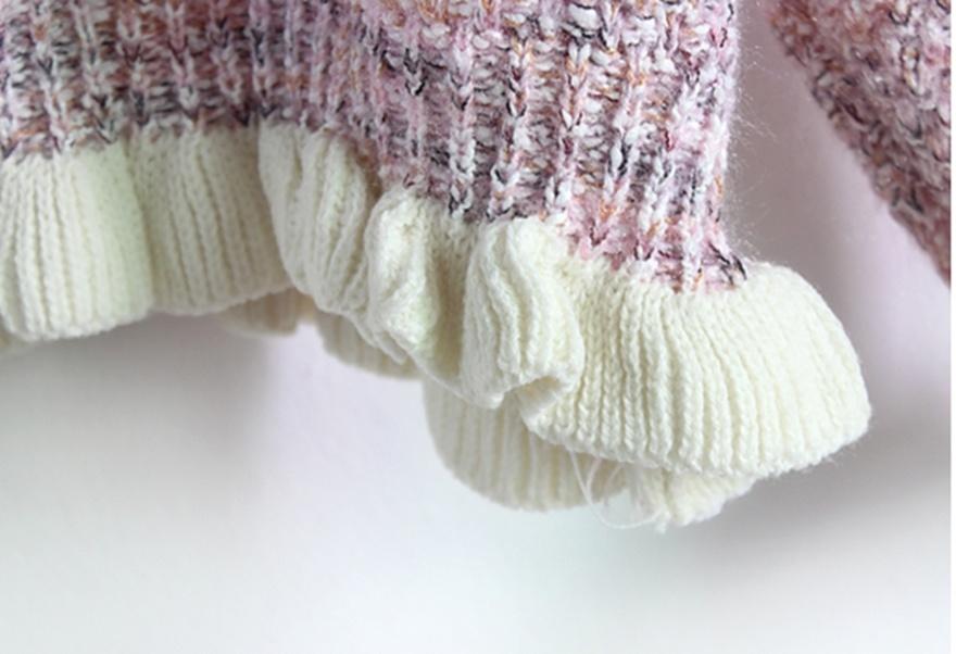 糖果彩色木耳花边短款毛衣