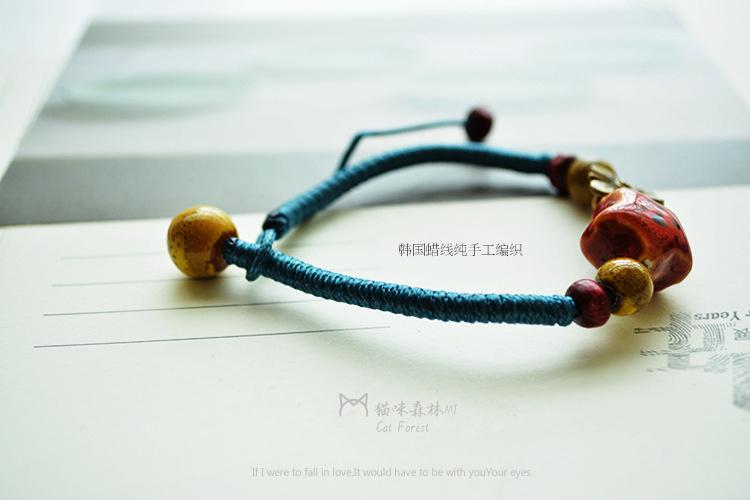 猫咪森林 民族风星星纯手工编织陶瓷手链