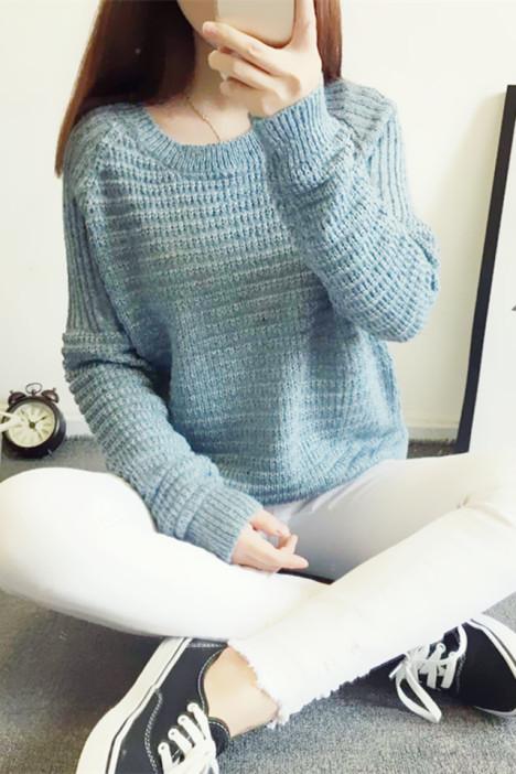【小清新简约花纹套头毛衣】-衣服-毛衣