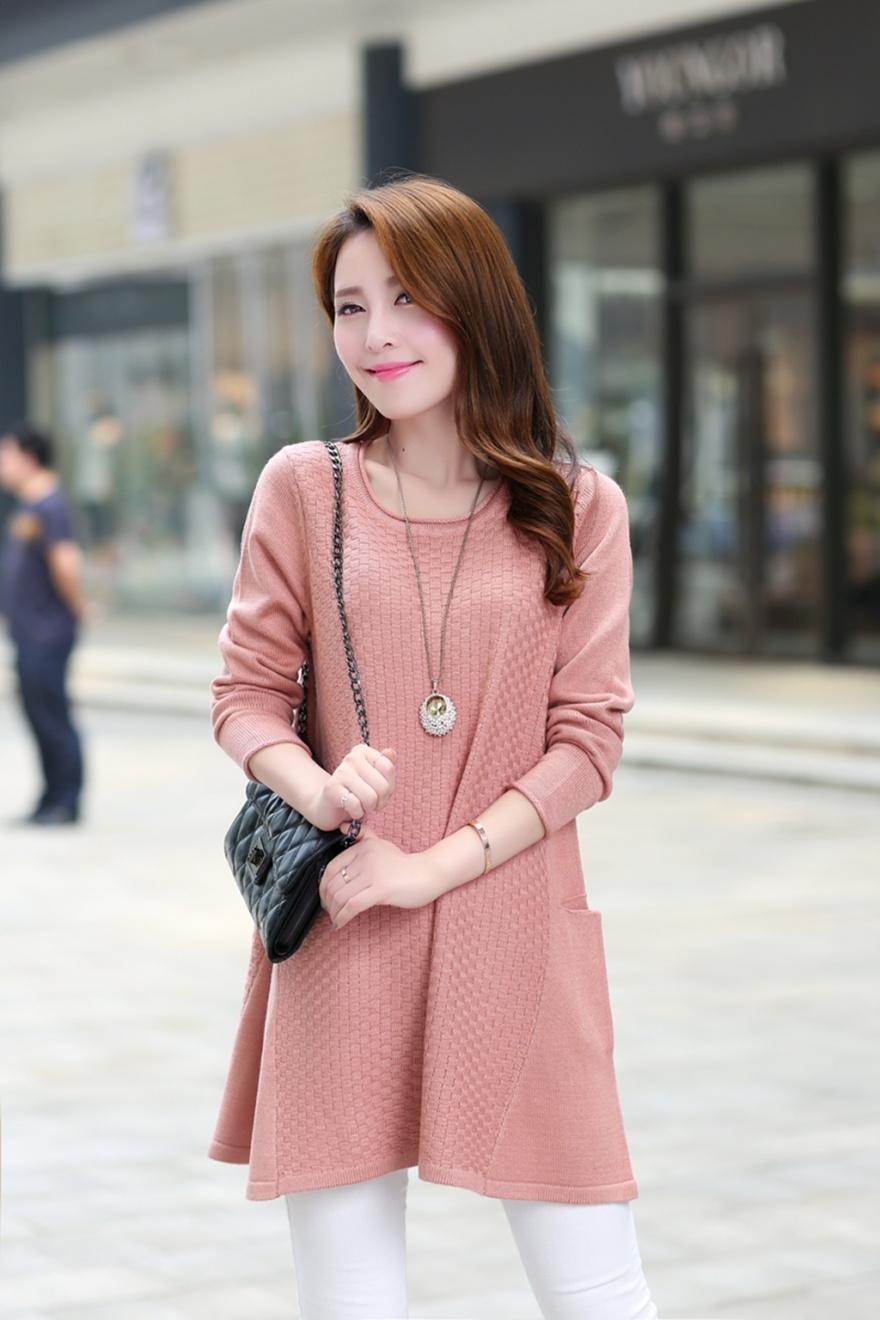 娇维安 韩国女装外套 秋季毛衣套头衫 长袖打底衫 圆领针织衫整体款式图片