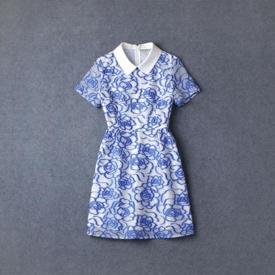 【与范冰冰同款连衣裙,蓝色花纹.】-连衣裙_裙子_女装