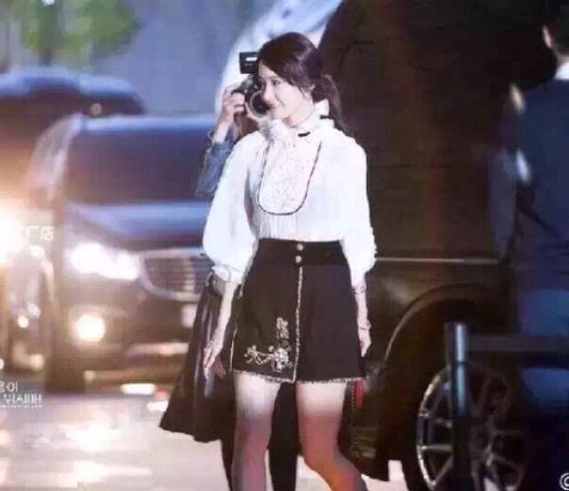 【新款小香风高领欧美花边长裙+呢】-雪纺/学生校服情趣套装上衣图片