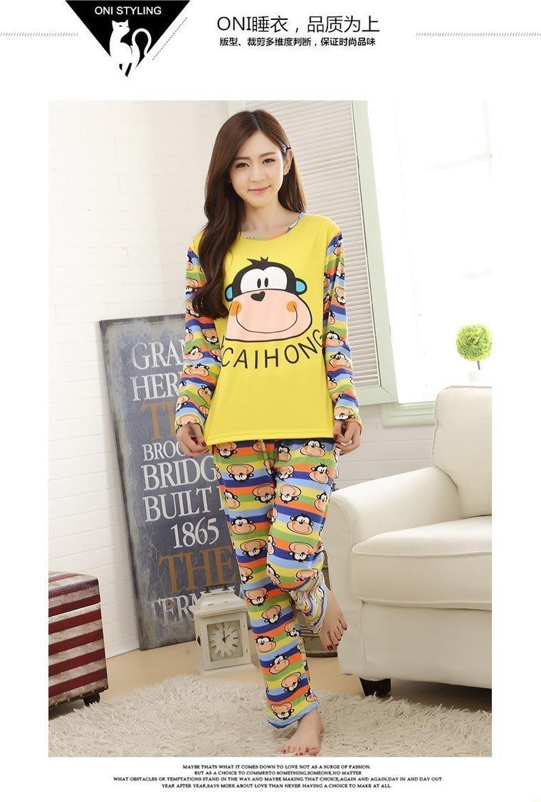 韩国初秋可爱笑脸猴睡衣