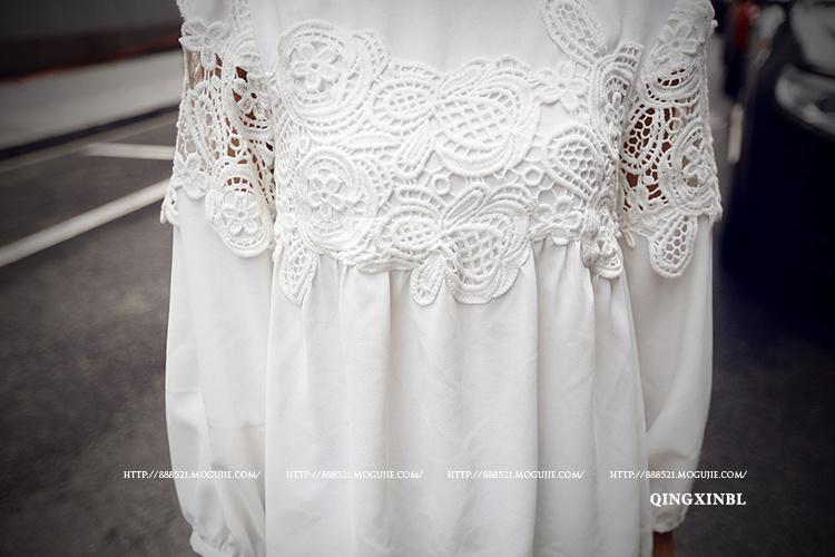 秋季新款 复古宫廷袖精致蕾丝拼接衬衫