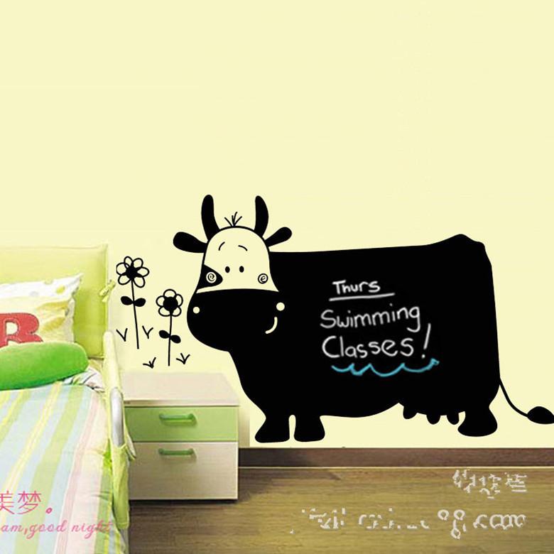 创意pvc环保墙贴大奶牛卡通儿童绘画教学黑板贴可擦写