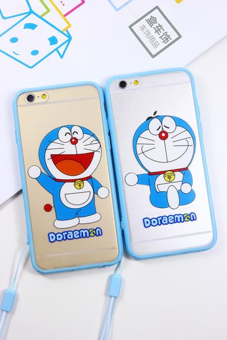 带挂绳蓝胖子哆啦a梦iphone软边框手机壳