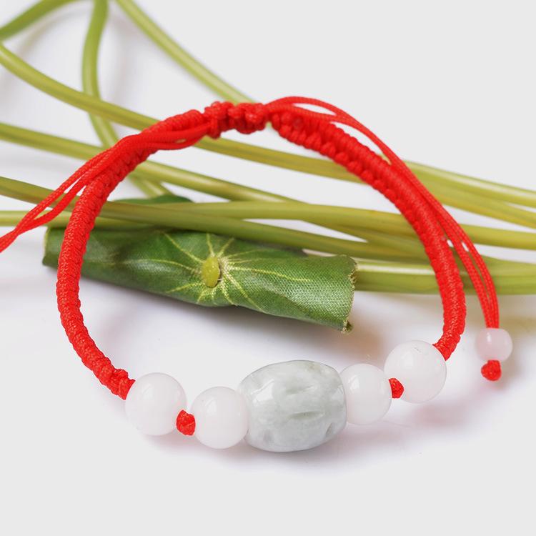 手工编织绳镂空翡翠转运珠手链