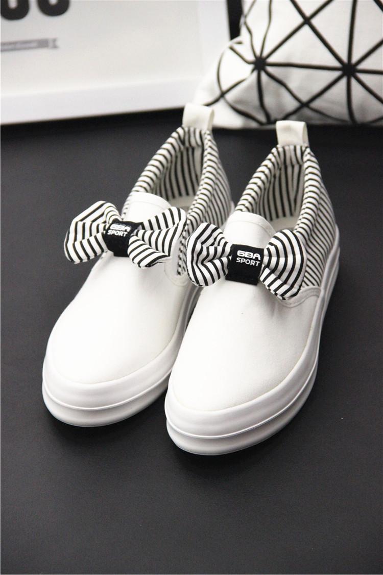韩范可爱蝴蝶结套脚帆布鞋