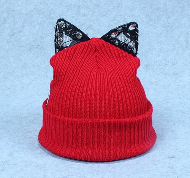蕾丝水钻 可爱猫耳朵帽子