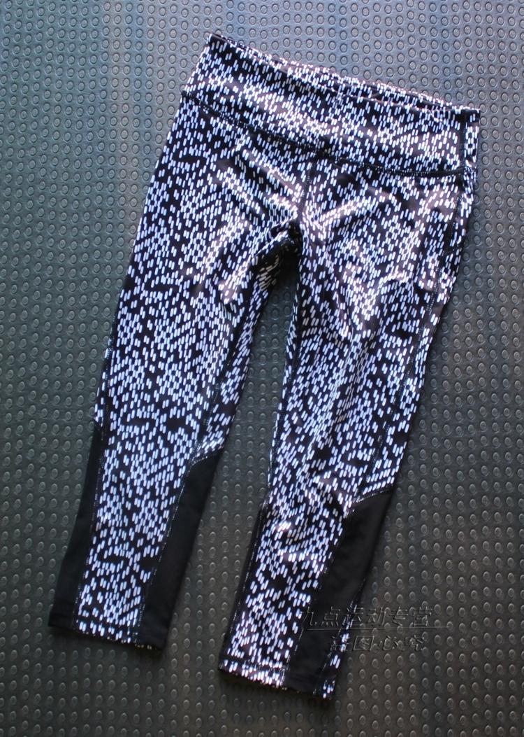 性感大气女健身裤跑步7分裤运动裤瑜伽高弹翘臀速干吸汗裤带兜