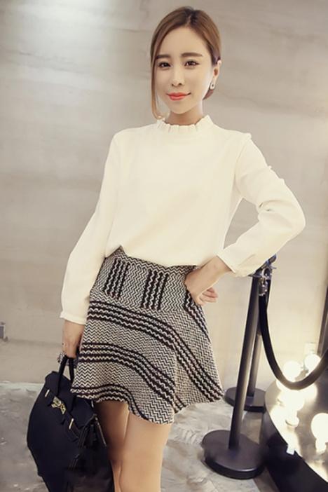 【韩版小清新花边领衬衫】-衣服-衬衫