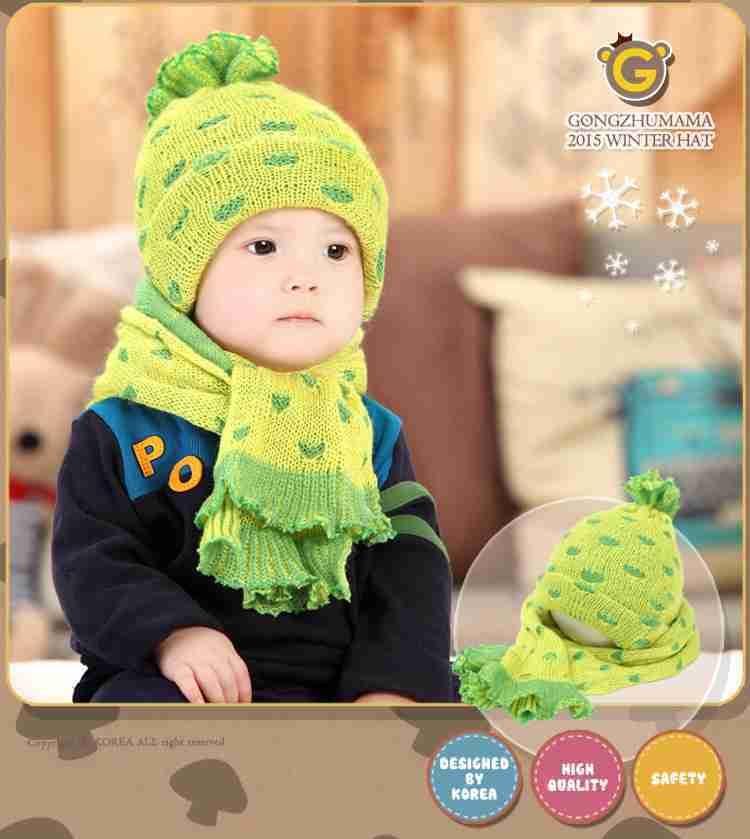 休闲帽吧 冬季可爱小菠萝耳帽童帽 帽子围巾两件套
