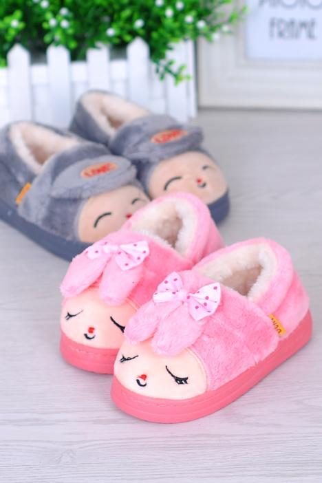 【可爱卡通兔子亲子毛绒保暖棉鞋】-鞋子-棉鞋