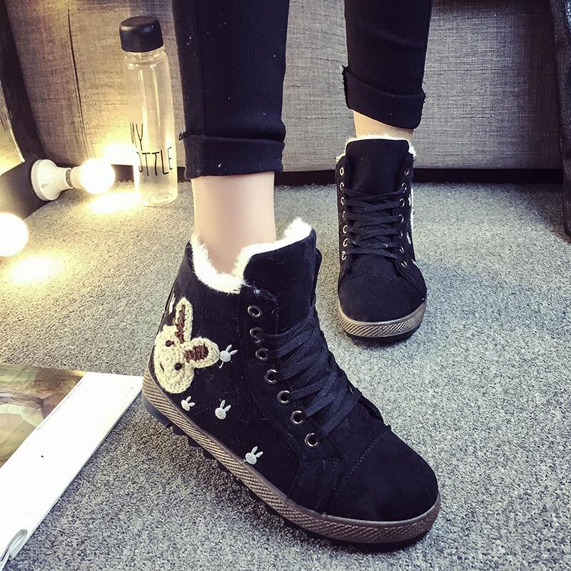 韩版可爱卡通短毛绒短靴