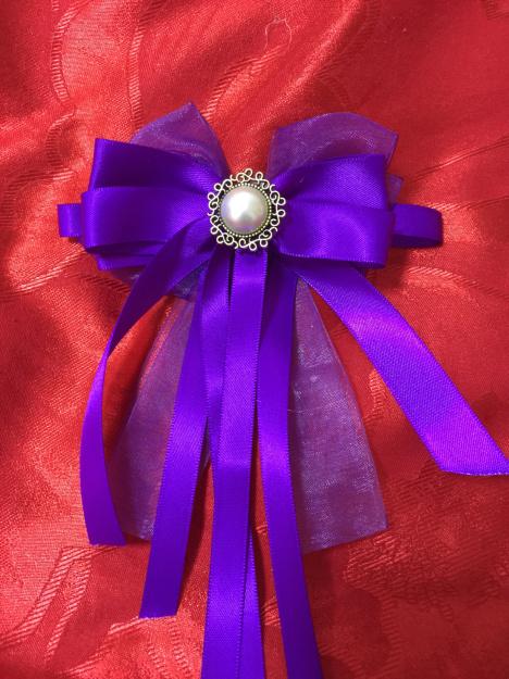 纯手工制作蝴蝶结头饰品 紫色幽灵丝带 韩式头饰