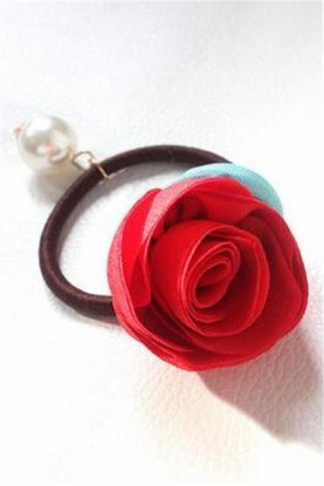 韩国玫瑰花朵手工布艺发圈