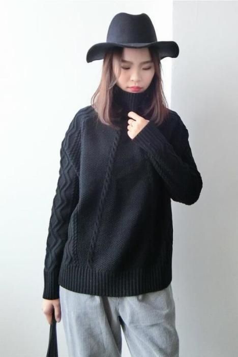 【新款高领麻花纹黑色毛衣套头长袖宽松百搭休闲针织