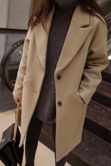 【秋冬新款浅驼色呢大衣】-衣服-毛呢外套